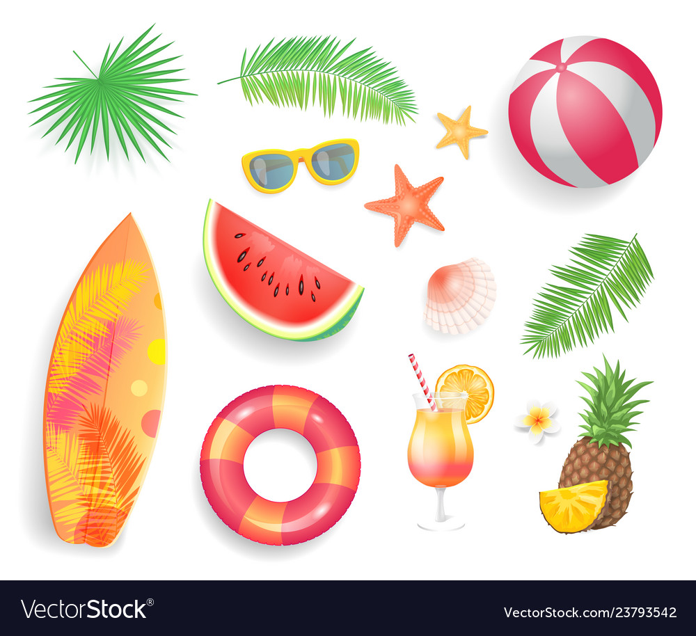 Summer tropical items icons