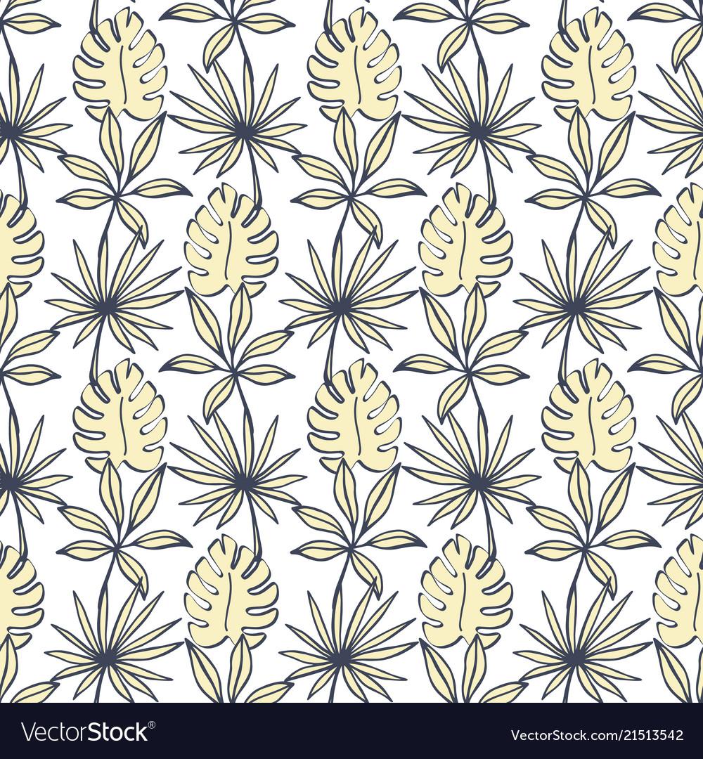 Tropical leaves seamless pattern modern foliage