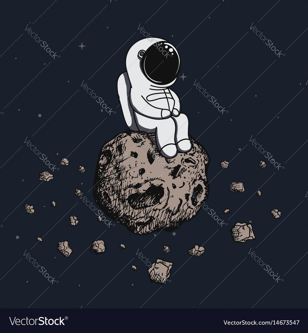 Astronaut travel on asteroid vector image