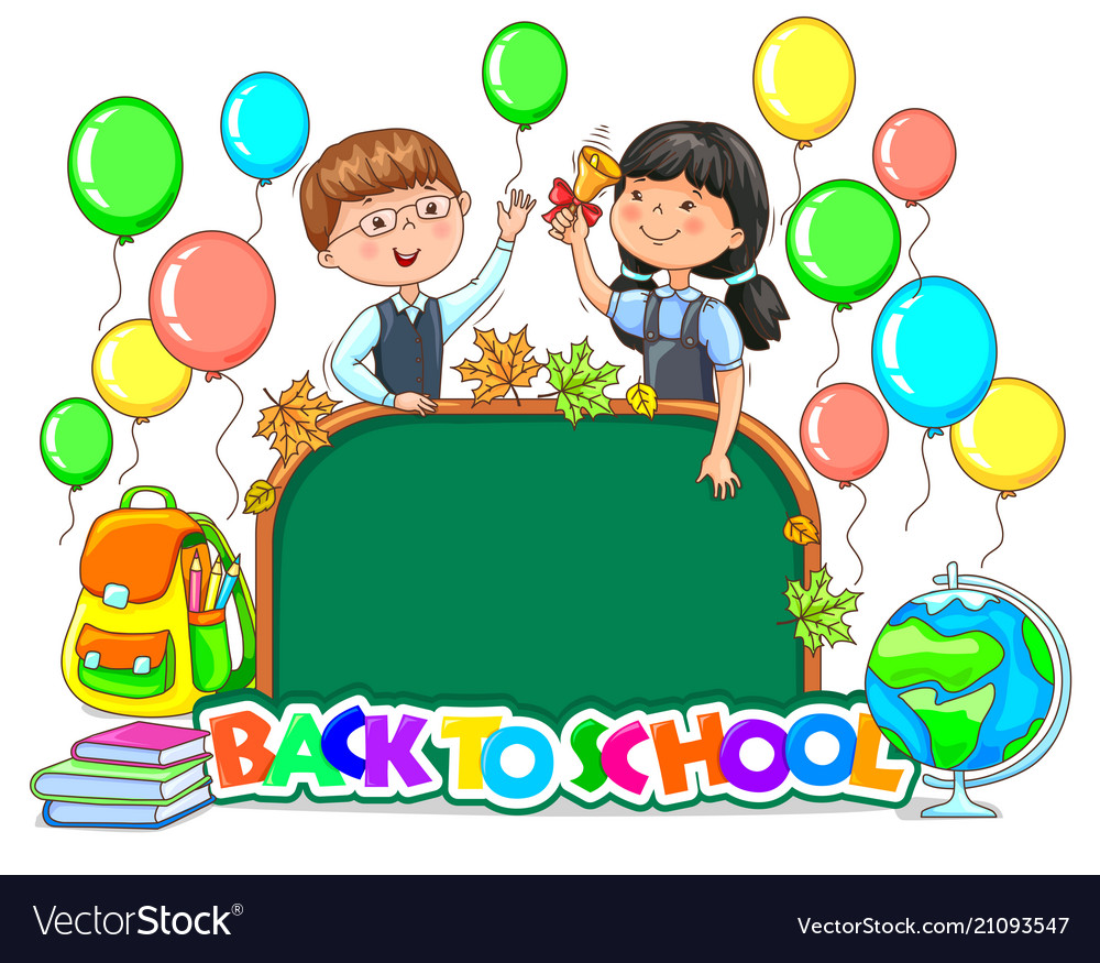 Back to school bright sign school board blank