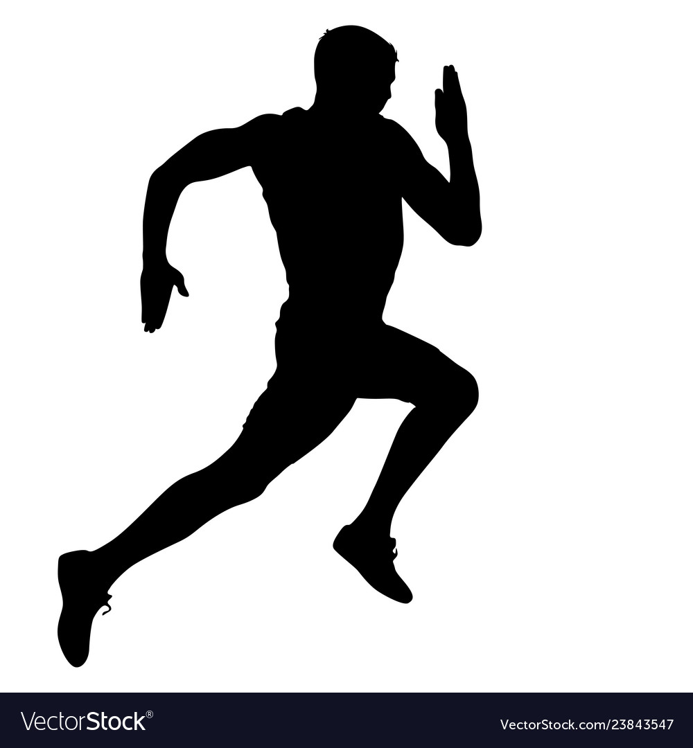 Black silhouettes runners sprint men on white