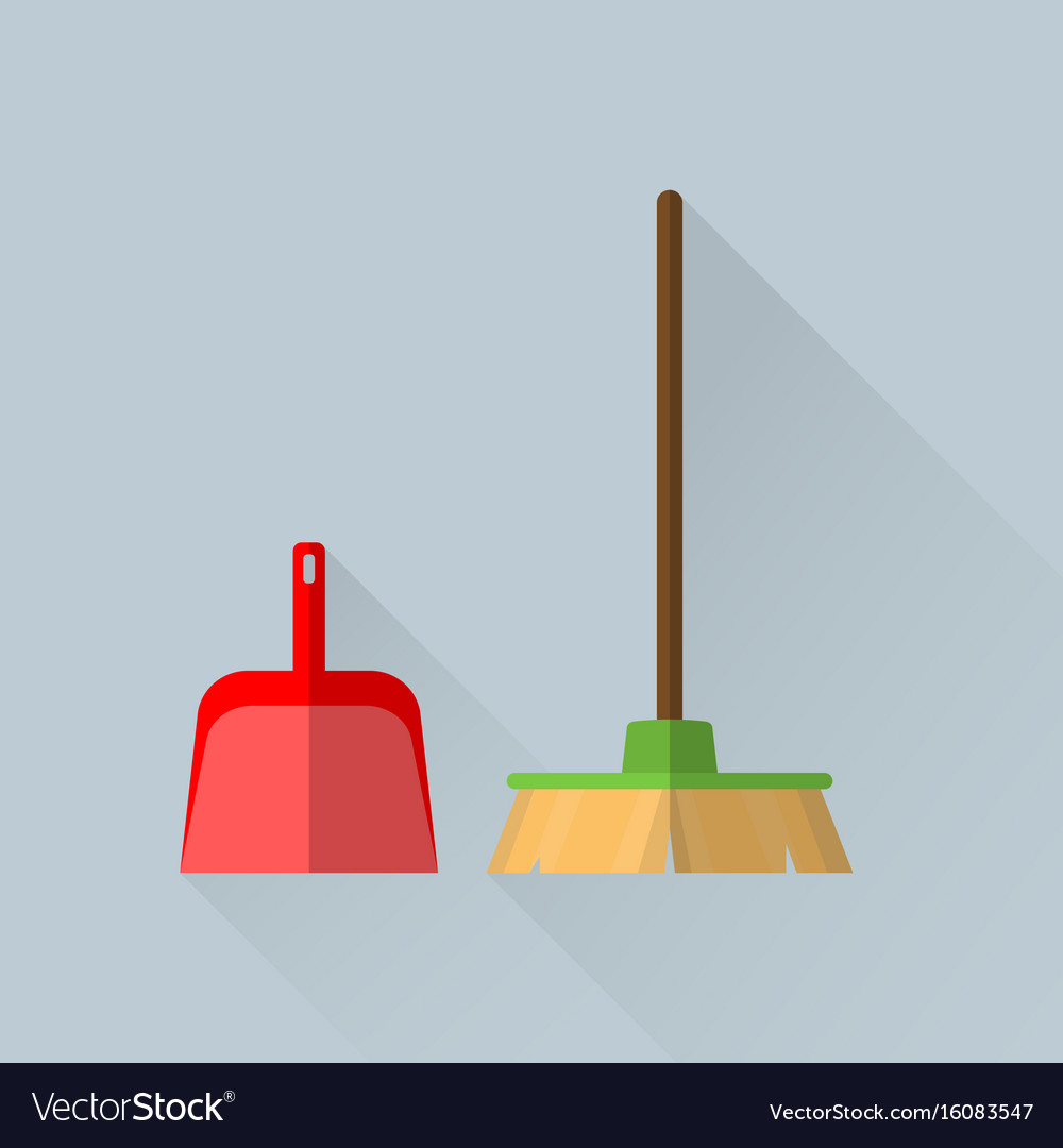 Broom and a scoop vector image