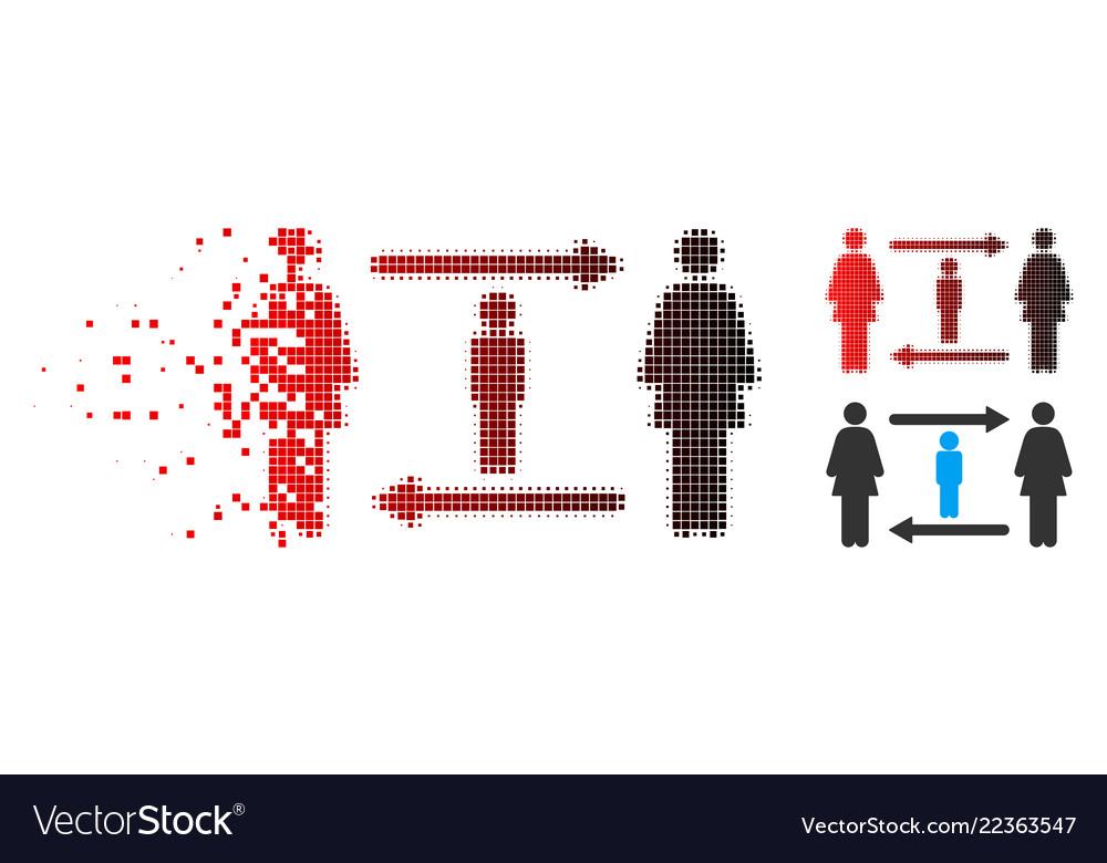 Dispersed pixel halftone women guy exchange icon