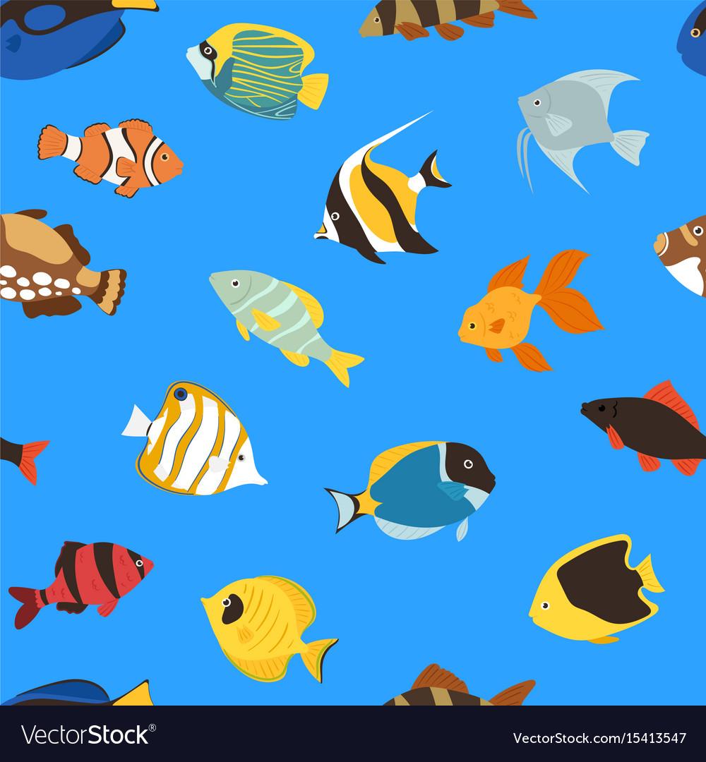 Exotic Tropical Fish Underwater Ocean Or Aquarium Vector Image
