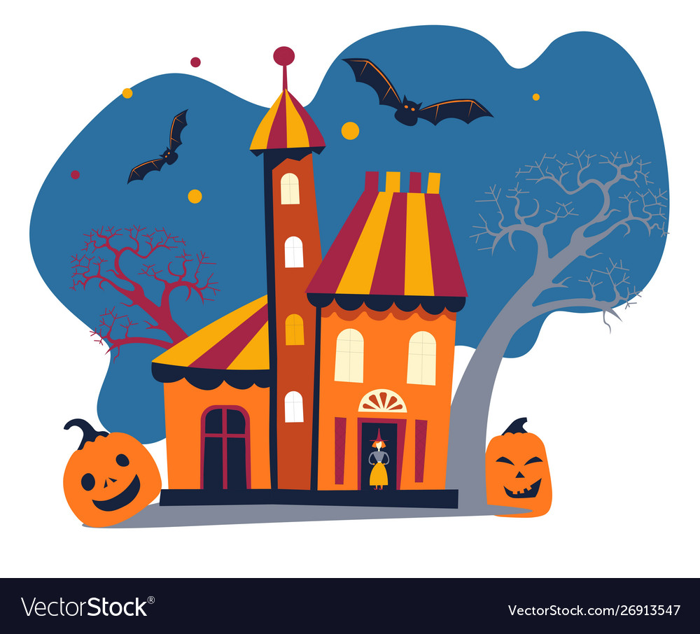 Haunted house home or building with witch bats