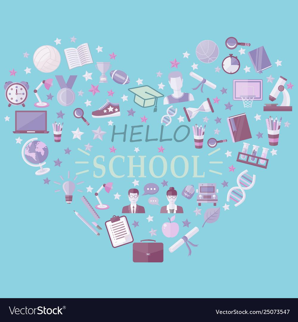 Hello school icon set in heart symbol in flat