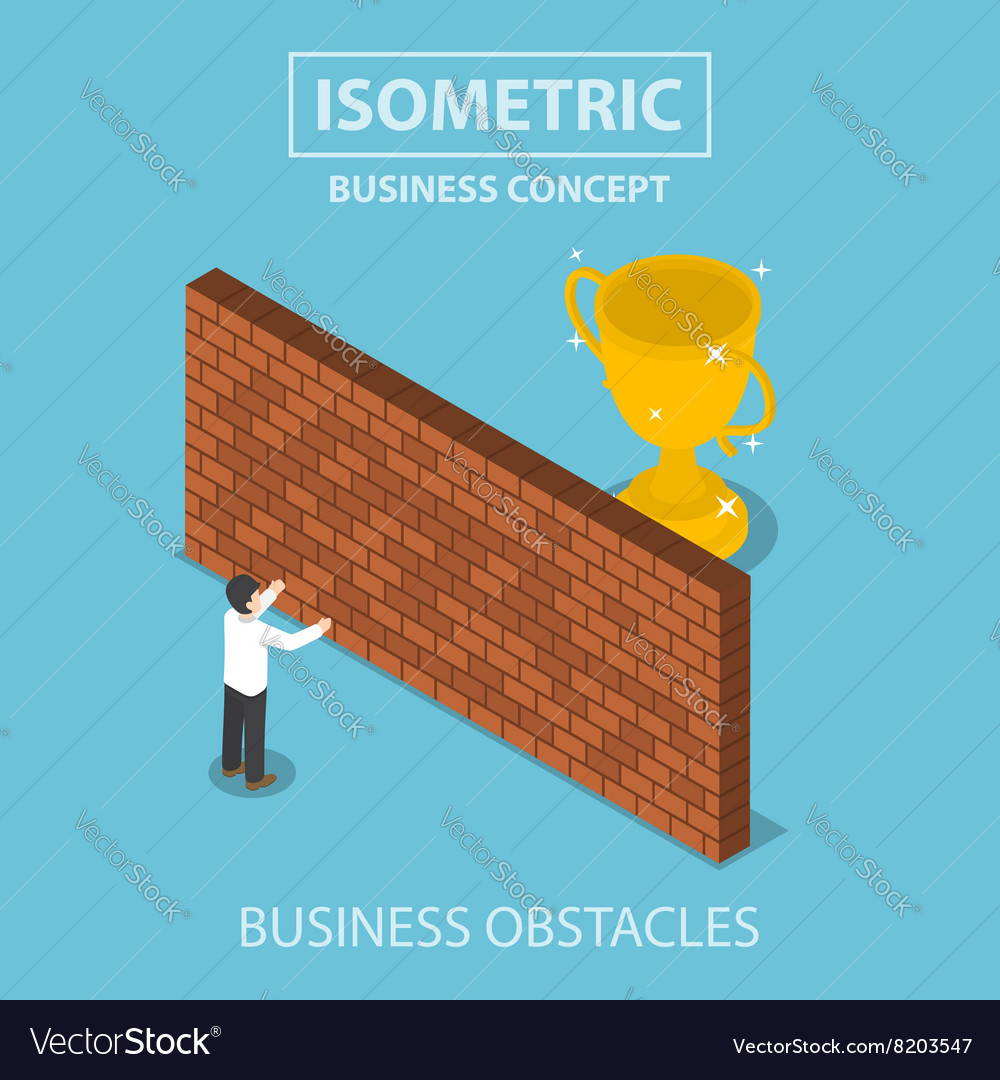 Isometric businessman standing in front of wall