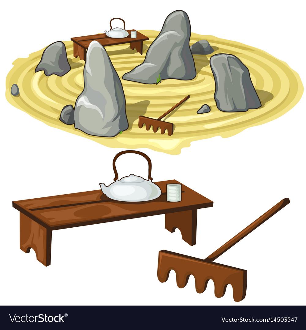 Japanese zen garden stones and utensils royalty free vector japanese zen garden stones and utensils vector image workwithnaturefo