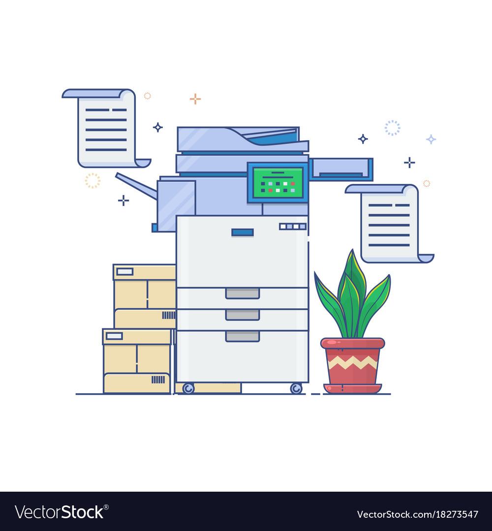 Office multi-function printer scannerflat thin vector image