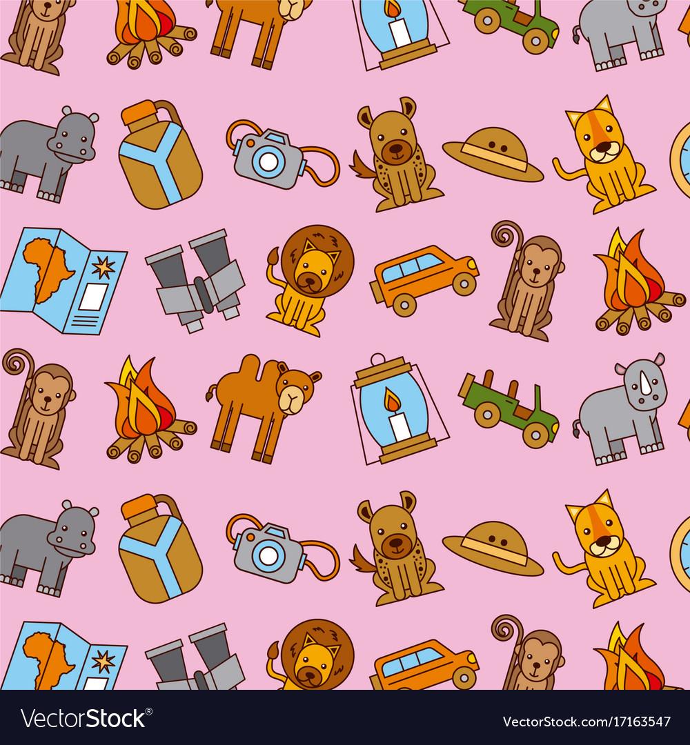 Safari Africa Animlas Equipment Wallpaper Pink