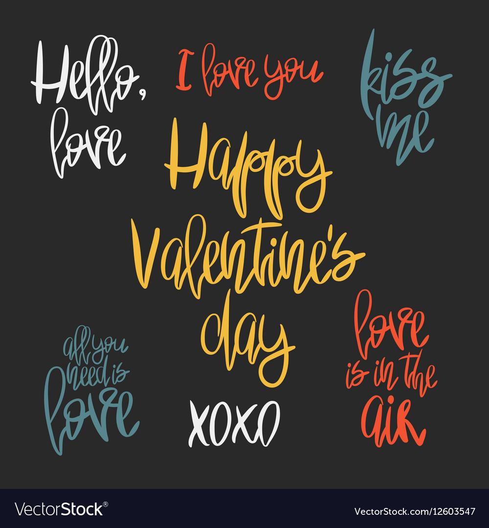 Set of 7 decorative handdrawn lettering