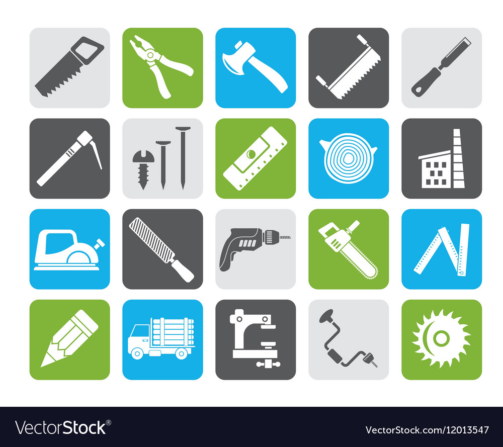 Silhouette Carpentry Logging And Woodworking Icon Vector Image