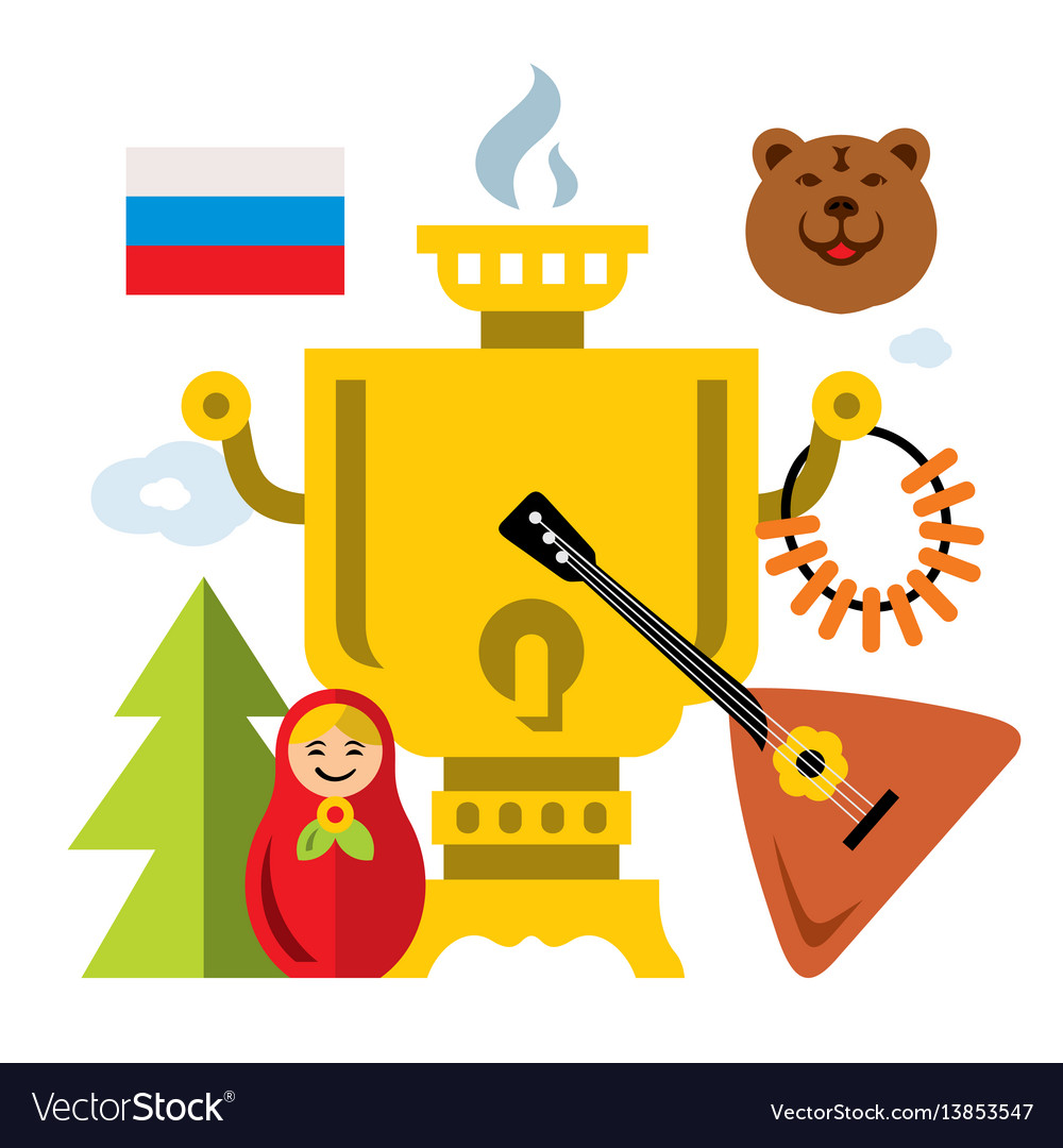 Symbols of russia flat style colorful