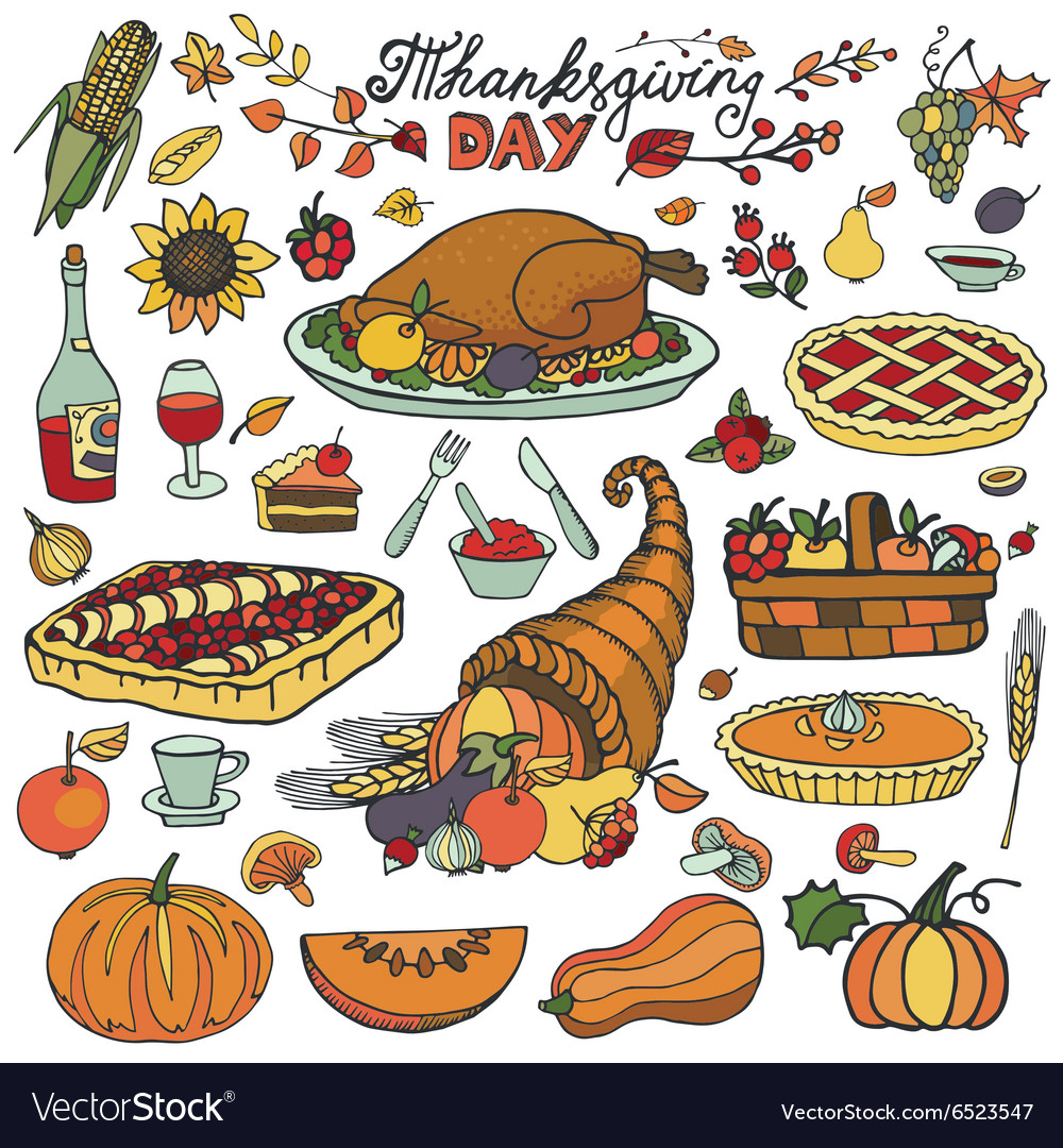 Thanksgiving dayDoodle food iconsColorful set