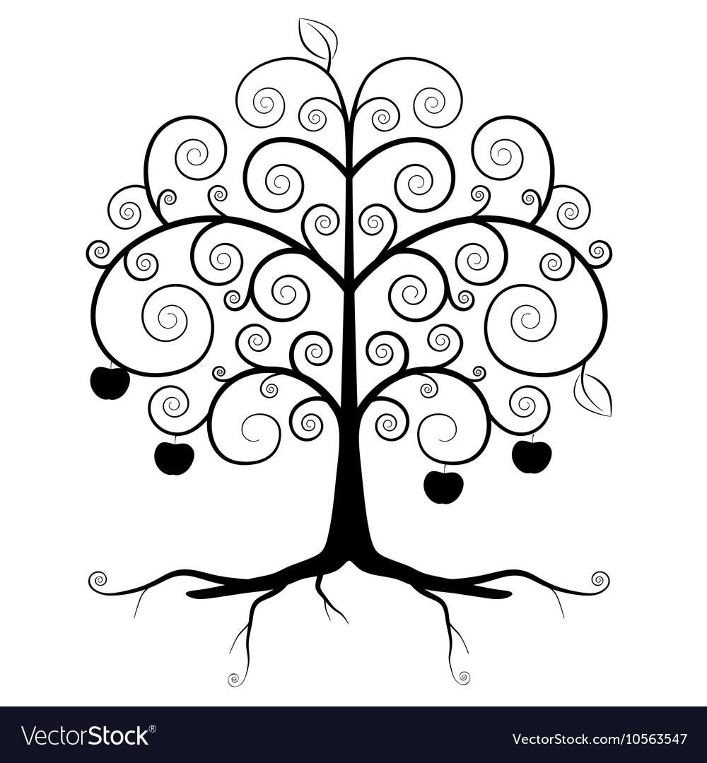 Tree Symbol - Abstract Tree Silhouette Isolated on