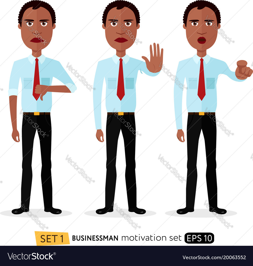 African american business man showing stop