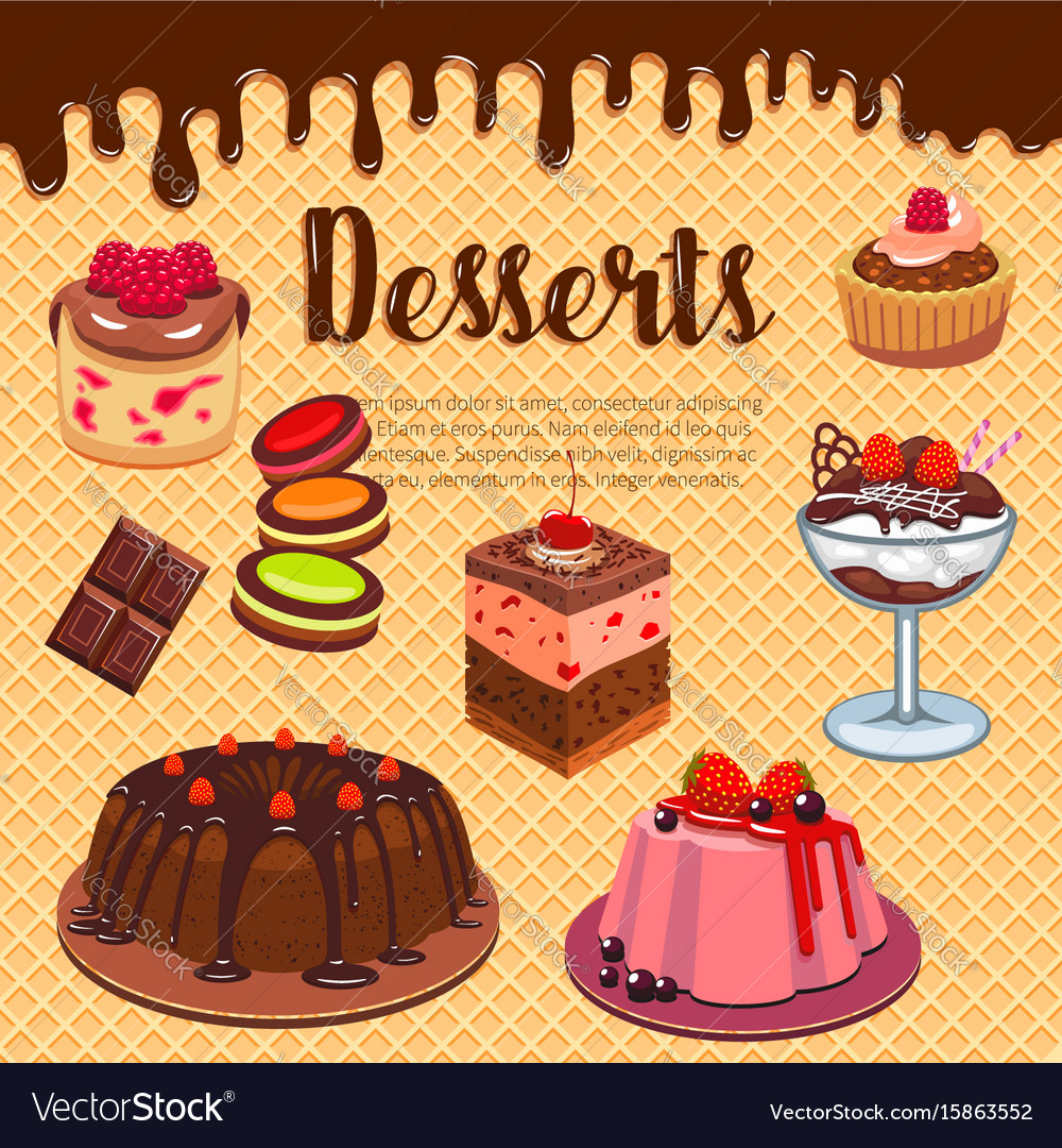 Bakery shop pastry desserts wafer poster
