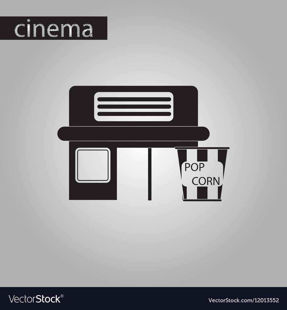 Black and white style icon building cinema popcorn vector image