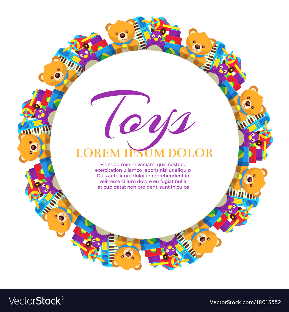 colorful banner with kid toys royalty free vector image