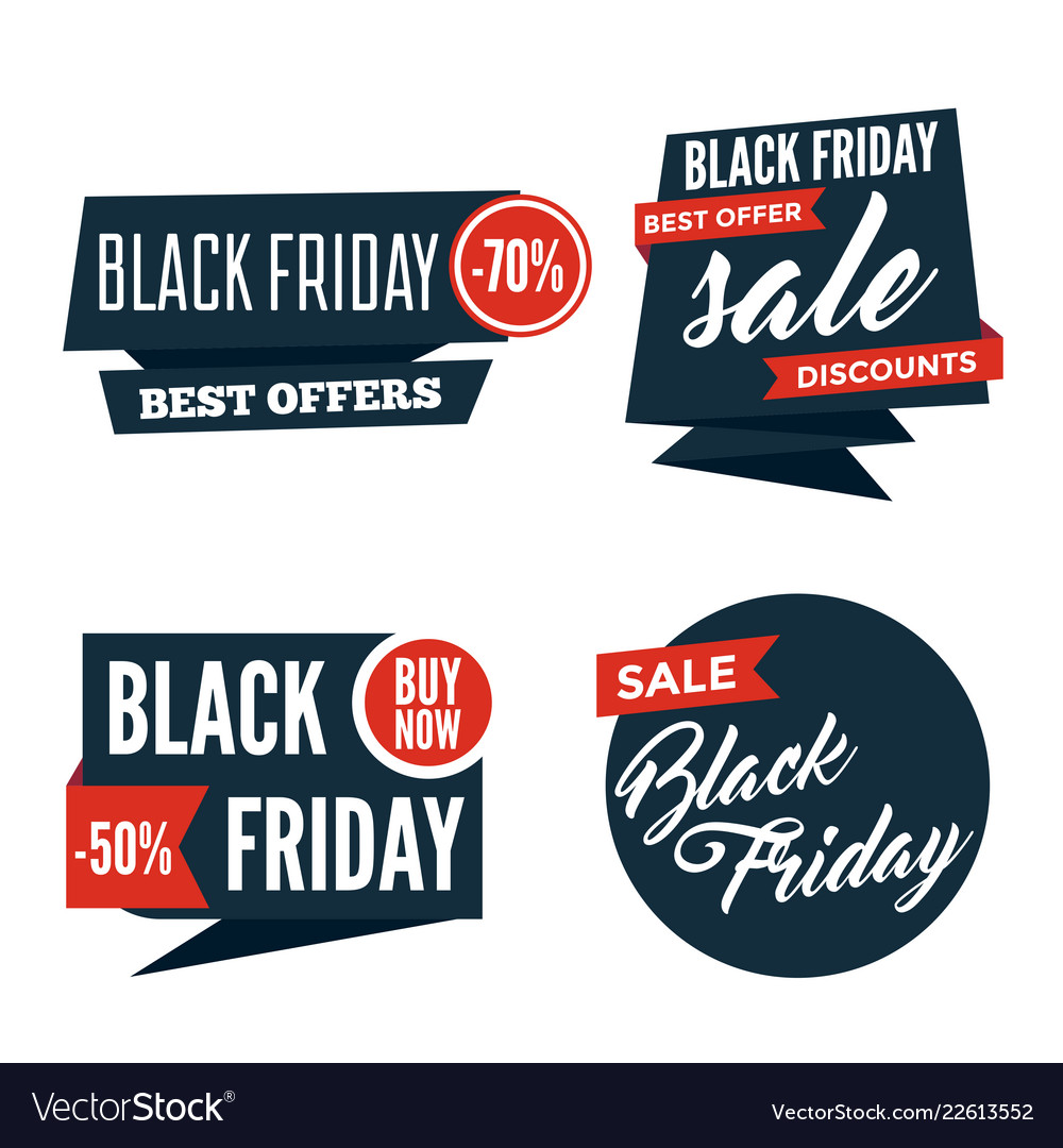 Flat black friday colorful shaped banners price