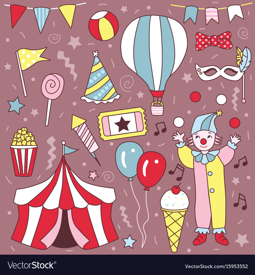Hand drawn cute carnival clown party set