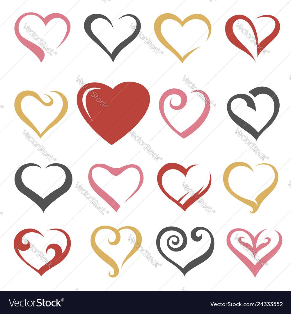 Hearts icons set