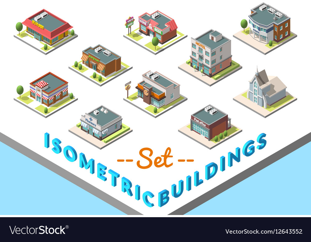 Isometric buildings set Isolated on white