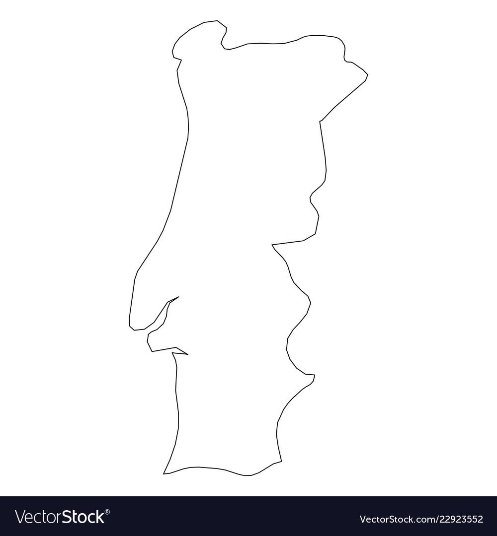 Portugal Solid Black Outline Border Map Of Vector Image