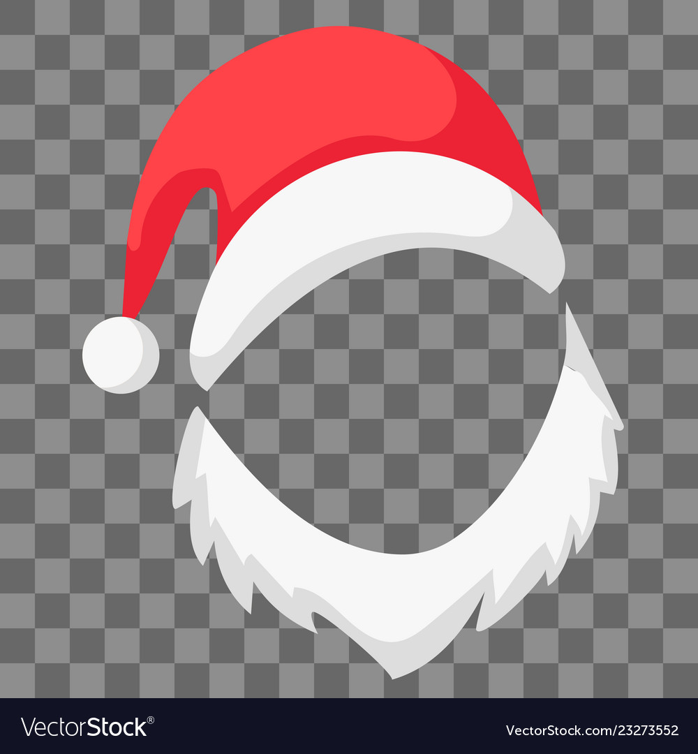 Red santa claus hat beard mocap festive vector image
