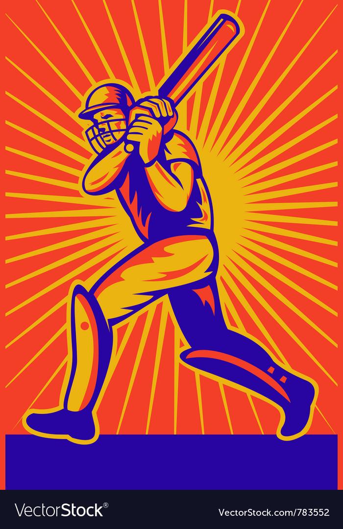 Retro cricket poster