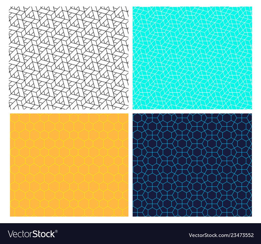 Seamless geometric hexagon line pattern