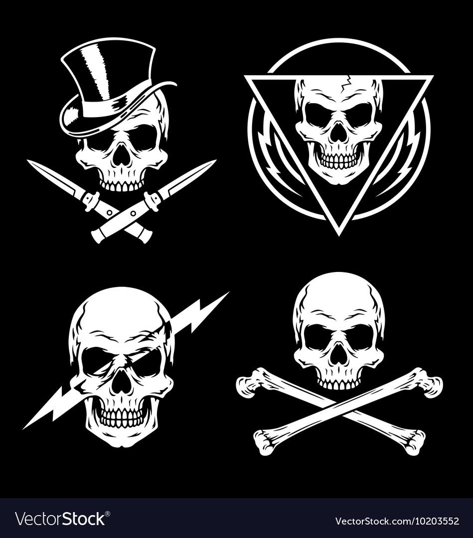 Skull graphics emblem set