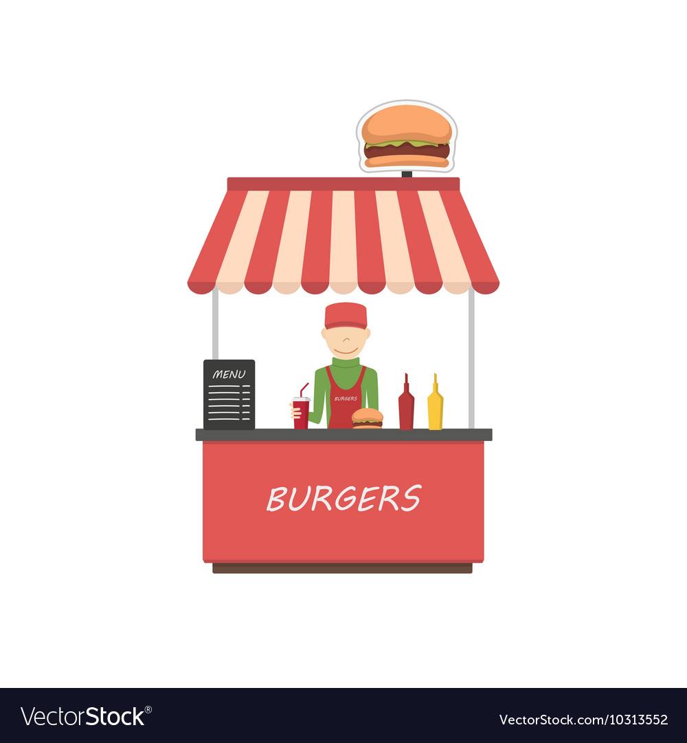 Street shop burgers Fast food kiosk