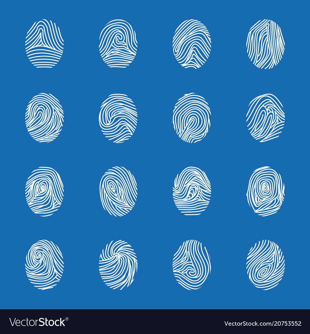 Various unique fingerprints white thin line icon