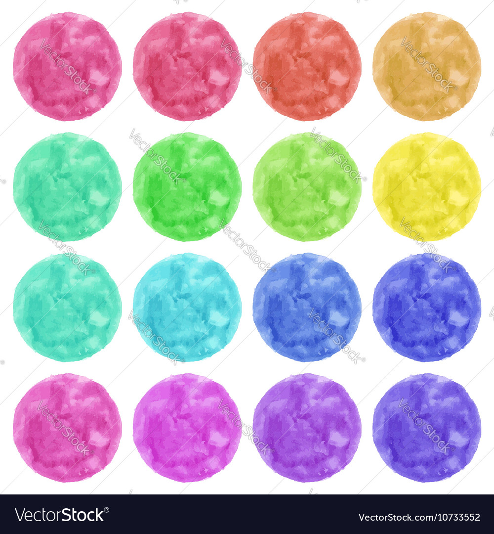 Watercolor colorful circles isolated on white