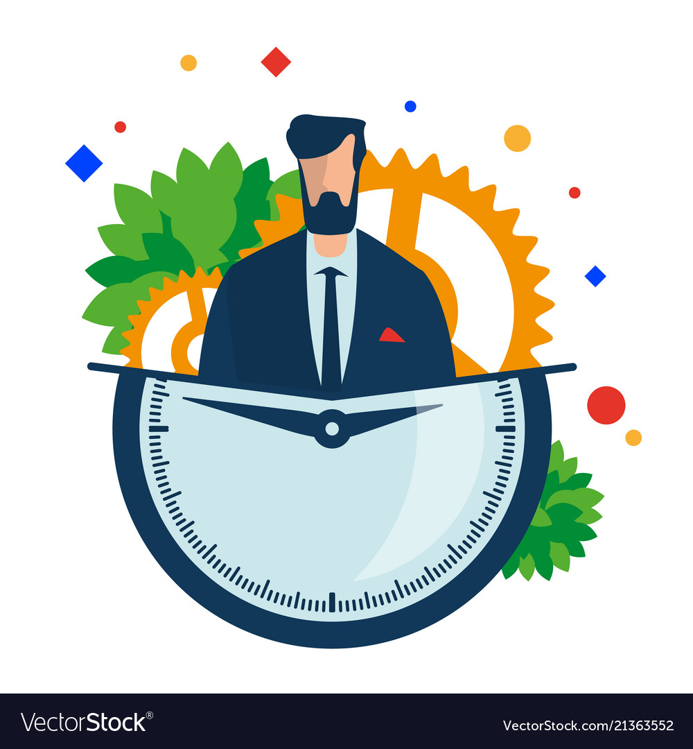 Working hours manager with a clock and gears