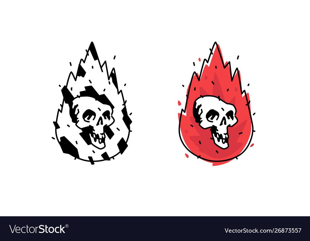 A burning white skull icon image is isolated on