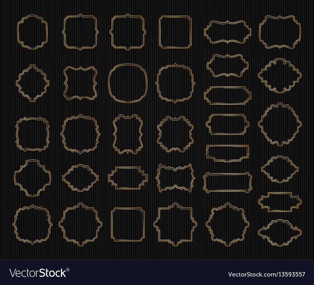 Borders and frames golden collection gold elegant