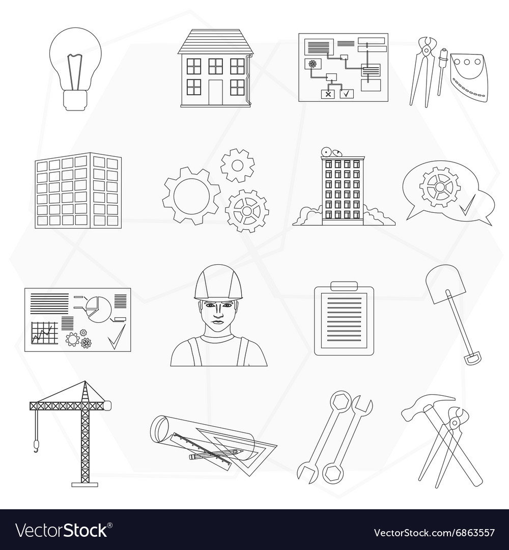 Builder worker construction thin line icons set