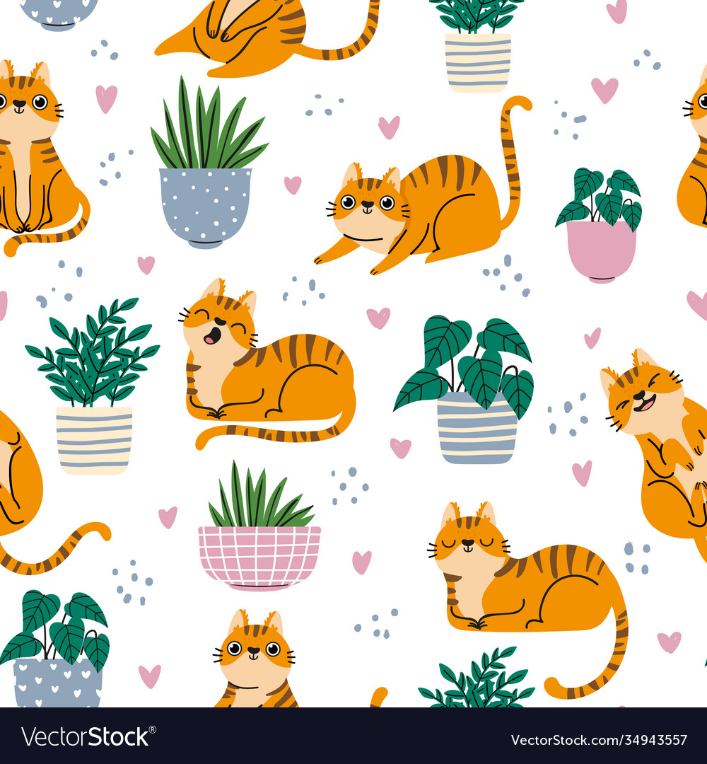 Cat seamless pattern red cats and plants in pots