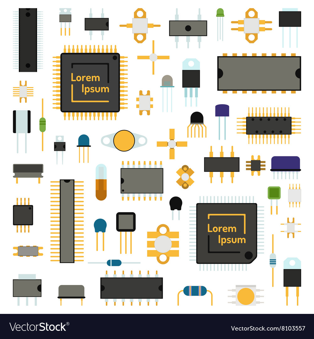 Circuit computer chips icons technology
