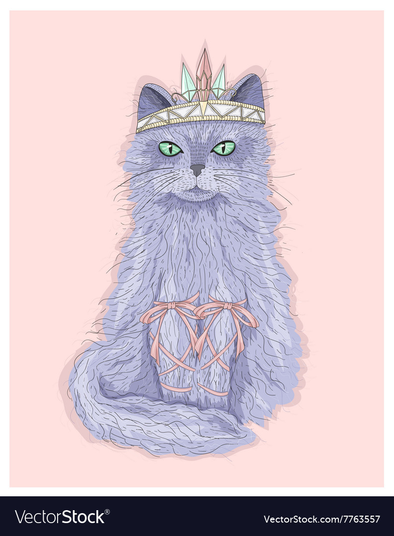 Cute purple cat princess with crown