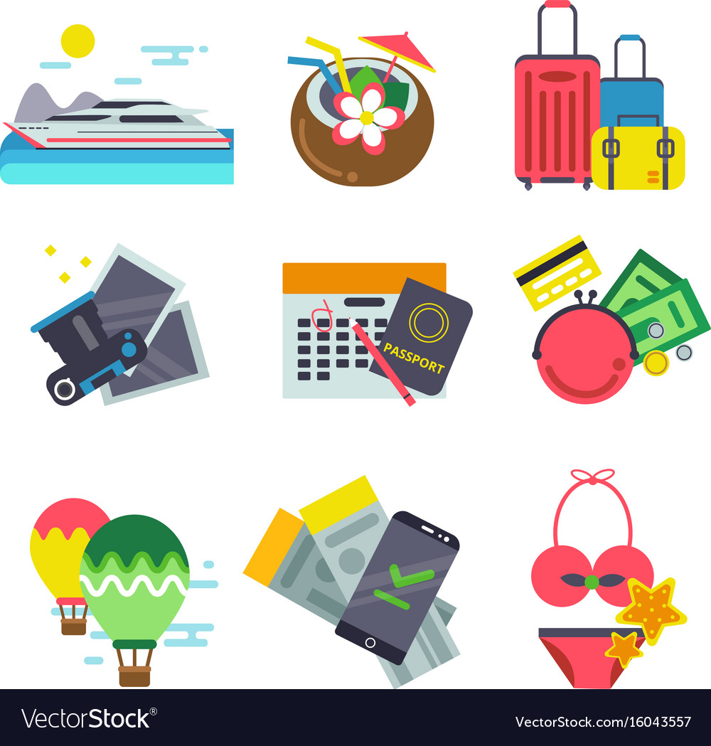 Different icons of traveling summer holiday