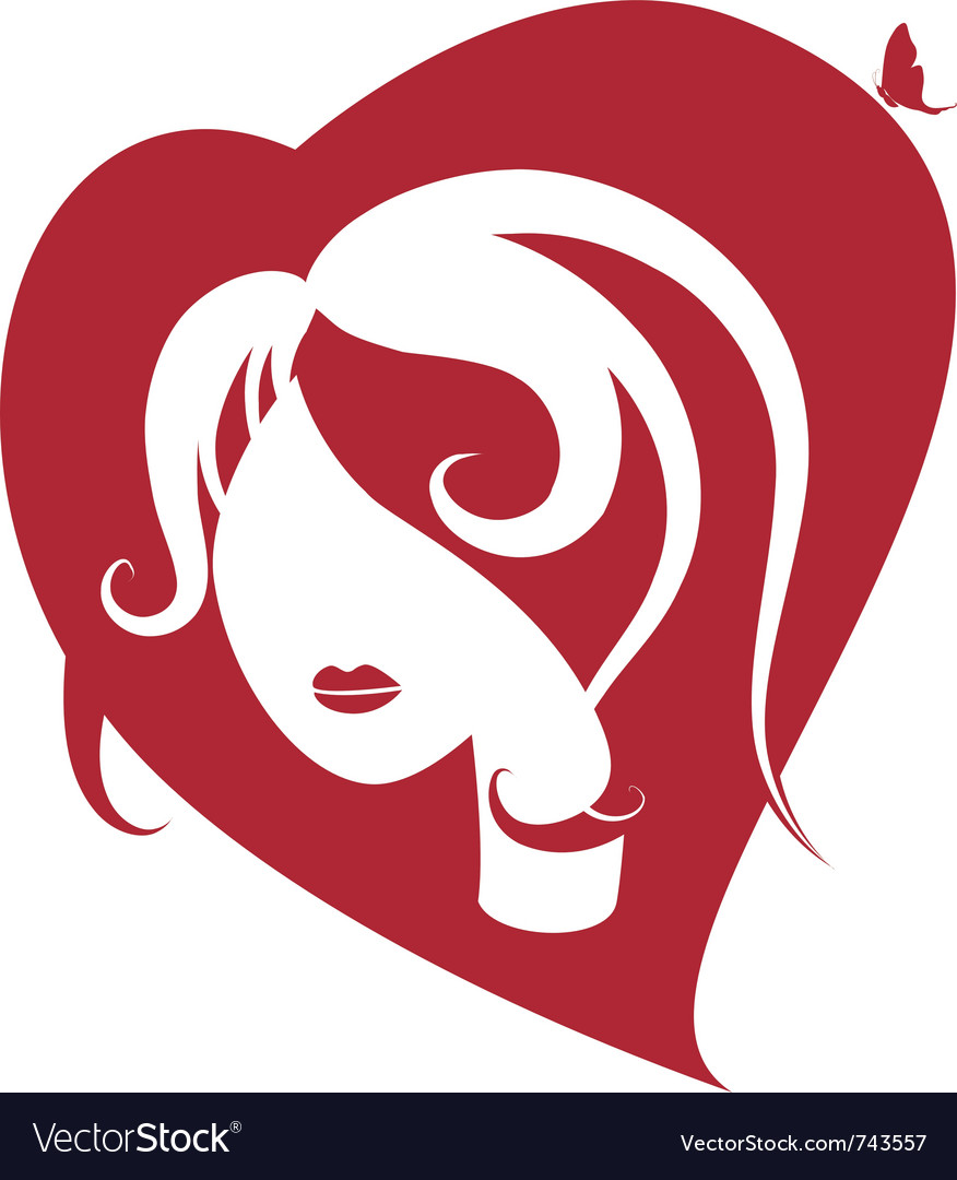 Female head to the heart vector image