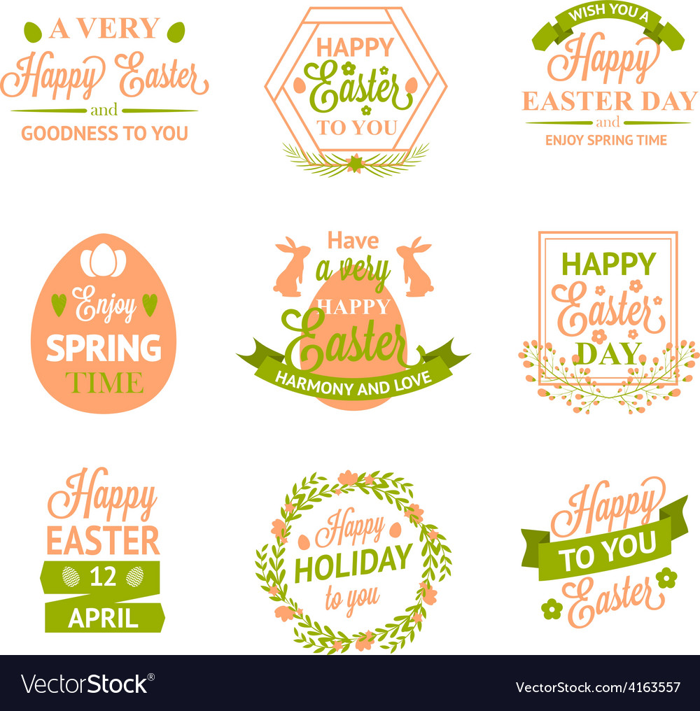 Happy easter labels logos and badges