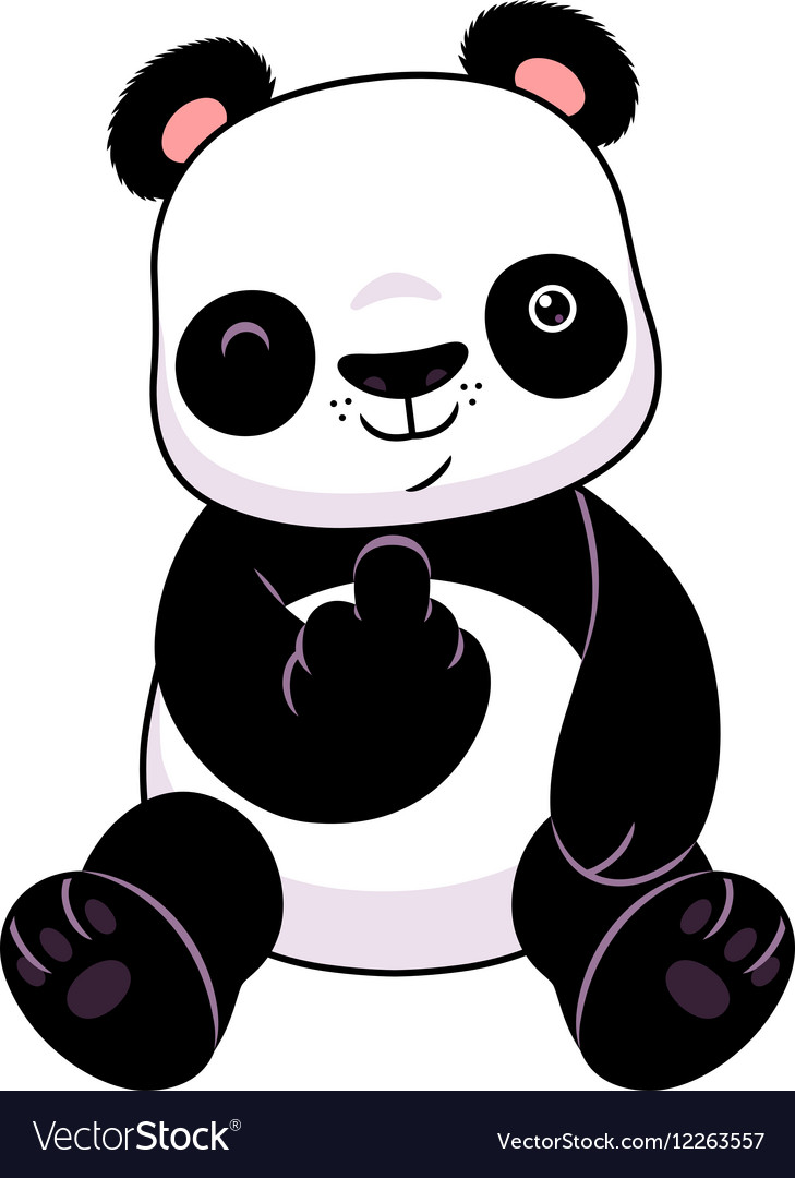 Panda Make A Middle Finger Symbol Royalty Free Vector Image