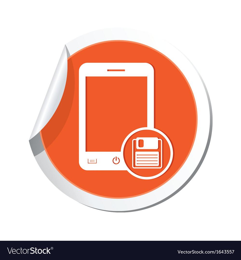 Phone save icon orange sticker