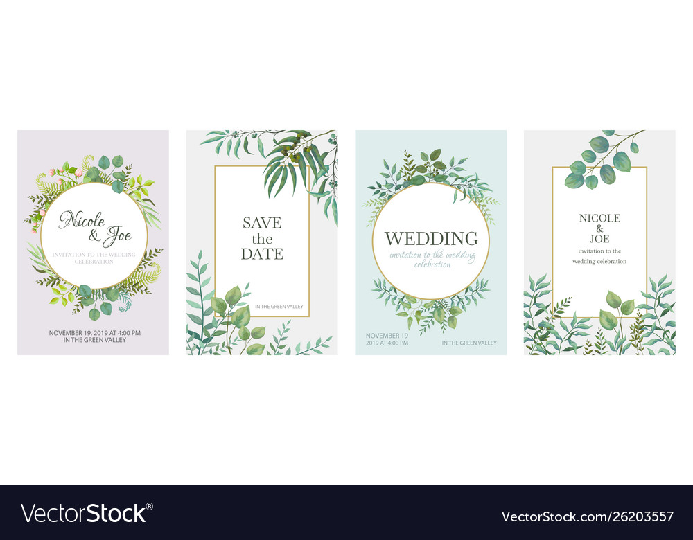 Wedding greenery posters floral green invitation