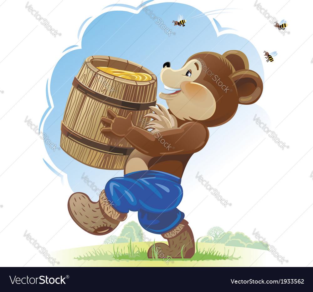 День, медведь с бочонком меда открытка