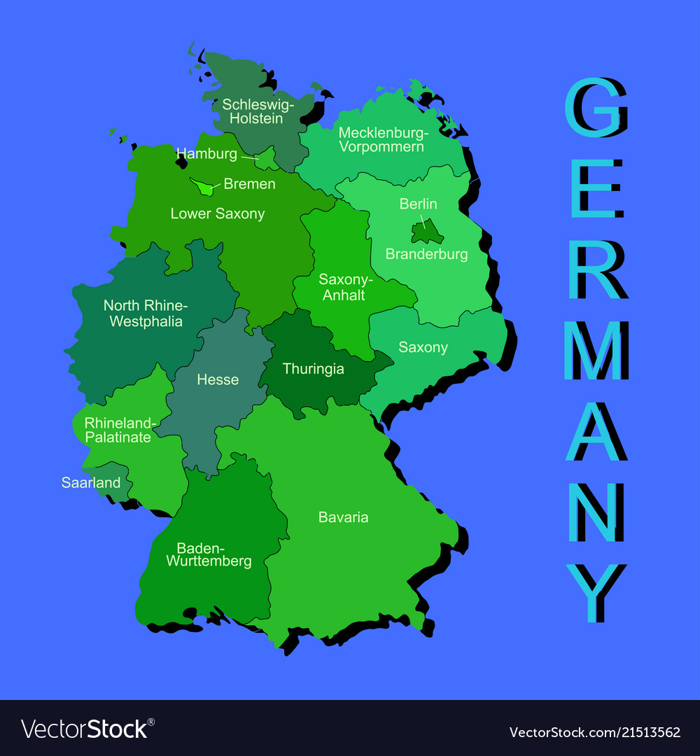 Map Of Germany Regions.Colorful Germany Political Map With Regions On